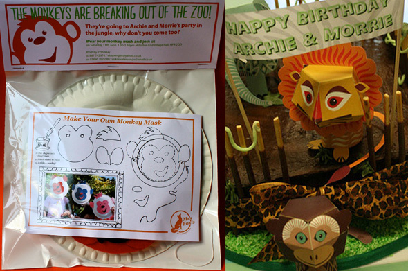 Mrs Fox's Jungle Invitations are a monkey mask