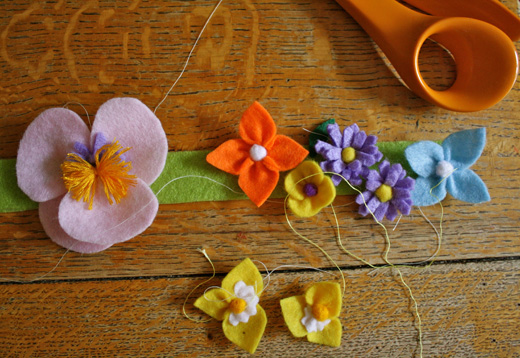 making felt flower headbands - stage  2