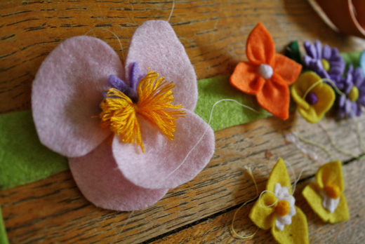 making felt flower headbands - stage  3