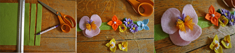 making felt flower headbands